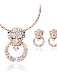 cheap -Women's Rhinestone Jewelry Set 1 Necklace / 1 Pair of Earrings - Luxury / Fashion Circle / Geometric Rose Gold Jewelry Set For Wedding /