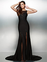 Mermaid / Trumpet Scoop Neck Court Train Jersey Formal Evening Dress with Beading by TS Couture®