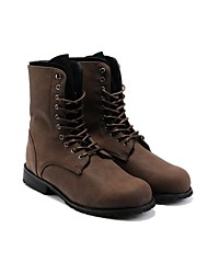 cheap -Men's Faux Leather Fall / Winter Comfort Boots 5.08-10.16 cm / Mid-Calf Boots Black / Brown