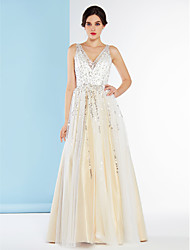 Linea-A A V Lungo Tulle Vestito da sposa con Lustrini di LAN TING BRIDE®