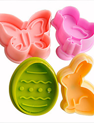 cheap -4pcs Easter Plunger Cookie Cutter Kitchen Cookie Stamp in Bunny Chick Egg Butterfly Shape