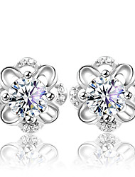 cheap -Women's Crystal Hollow Out Stud Earrings - Sterling Silver, Crystal, Silver Flower Fashion, Cute Silver For Wedding / Party / Daily