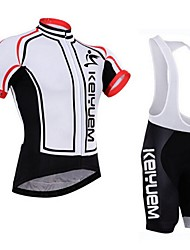 cheap -KEIYUEM Cycling Jersey with Bib Shorts Men's Women's Unisex Short Sleeves Bike Padded Shorts/Chamois Bib Tights Jersey Clothing Suits