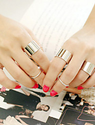 Korean Style Circle Shape Adjustable Ring Set Midi Rings(Set of 6)