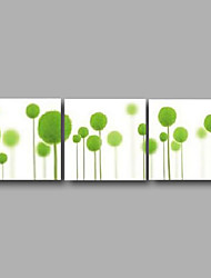 "cheap -Ready to Hang Stretched Hand-painted Oil Painting 72""x24"" Three Panels Canvas Wall Art White Green Flowers Modern"