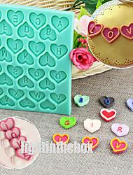 Engelsk brev valentine hjerte form diy silikone chokolade budding sukker kage skimmel farve tilfældigt