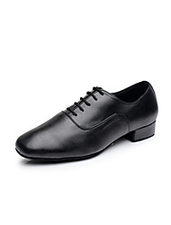 cheap -Men's Latin Shoes / Ballroom Shoes Leatherette Heel Lace-up Low Heel Non Customizable Dance Shoes Black / White / Indoor / Performance