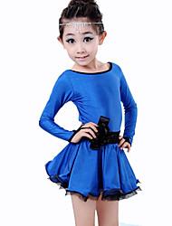 preiswerte -Latein-Tanz Kleider Kinder Vorstellung Elastan Polyester Milchfieber Drapiert 2 Stück Kleid