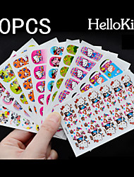 Χαμηλού Κόστους Αυτοκόλλητα για Όλο το Νύχι-10 pcs Πλήρης Άκρες Νυχιών τέχνη νυχιών Μανικιούρ Πεντικιούρ Lovely Κινούμενα σχέδια / Μοντέρνα Καθημερινά