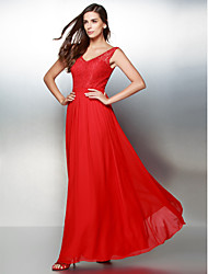 cheap -A-Line V-neck Ankle Length Chiffon Lace Prom Formal Evening Dress with Lace by TS Couture®