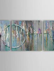 abordables -Peinture à l'huile Hang-peint Peint à la main - Abstrait Moderne Inclure cadre intérieur / Trois Panneaux / Toile tendue