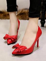 Žene Cipele Umjetna koža Proljeće Ljeto Udobne cipele Stiletto potpetica Mašnica za Kauzalni Formalne prilike Crn Sive boje Crvena Pink