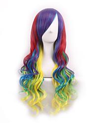 billige -Syntetiske parykker Krøllet / Krop Bølge Assymetrisk frisure Syntetisk hår Ombre-hår Grøn Paryk Dame Lang Lågløs Regnbue