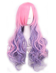 cheap -Synthetic Wig Curly / Body Wave Asymmetrical Haircut Synthetic Hair Natural Hairline Pink Wig Women's Long Cosplay Wig / Halloween Wig
