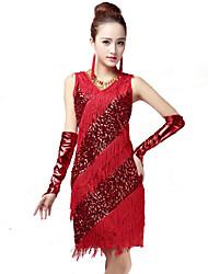 cheap -Latin Dance Dresses Women's Performance Spandex Polyester Milk Fiber Tassel(s) 1 Piece Dress