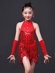 abordables -Danse latine Robes Enfant Utilisation Polyester Paillette Cristaux/Stras Gland Sans Manches Taille haute Robe Gants