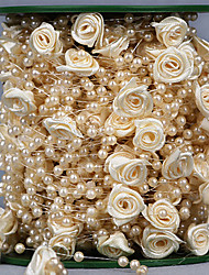 cheap -30 Meters 4mm Rose Flower Artificial Pearls Beads Chain Garland Flowers Wedding Party Decoration