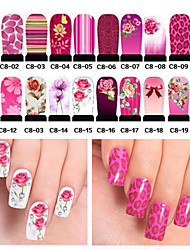 20pcs Hot Water Transfer Nail Art Stickers Full Cover DIY Nail Tips Wraps Decals Nail Accessories (C8-001 to C8-020)