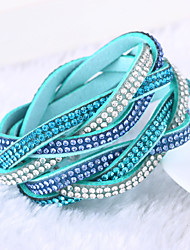 cheap -Women's Leather Rhinestone Imitation Diamond Others Wrap Bracelet - Luxury Unique Design Multi Layer Green Blue Light Blue Bracelet For