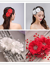 Tulle Imitation Pearl Hair Combs Flowers Headpiece Elegant Style