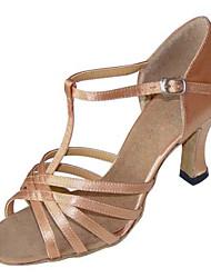Women's Dance Shoes Latin / Swing/Salsa / Samba /Leatherette Chunky Heel Black / Brown / Silver / Gold