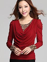 cheap -Fashion Women Plus Sizes Fake Piece Slim Leopard Round Neck Long Sleeve Bottoming Shirt Blouse Tops