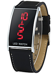 cheap -Men's Digital Wrist Watch LED Leather Band Charm Black