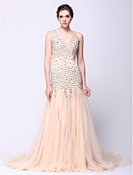 cheap -Fit & Flare Plunging Neck Court Train Tulle Sparkle & Shine Prom / Formal Evening Dress with Beading by TS Couture®