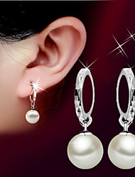 cheap -Women's Pearl Drop Earrings - Pearl, Sterling Silver, Silver Ball Basic, Simple Style, Fashion Silver For Wedding / Party / Birthday
