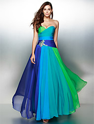 cheap -A-Line Sweetheart Floor Length Chiffon Prom Formal Evening Dress with Crystal Detailing Criss Cross by TS Couture®