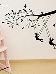 AWOO® New Boy Girl Swing Pattern Wall Decoration Fashion  Wall Stickers Home Decor 3D Wallpaper for Living Room