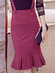 Women's Ruffle Fashion Plus Sizes Slim Package Hip Stripe Fishtail Skirt Frill Strap Skirt Work OL Party