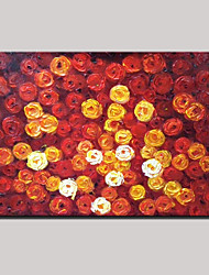 Hand-Painted Abstract Landscape Modern Blooming Roses Flowers Oil Painting On Canvas Ready To Hang One Panel