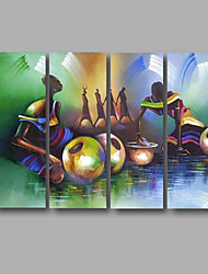 cheap -Hand-Painted Abstract Horizontal Panoramic, Modern Canvas Oil Painting Home Decoration Four Panels