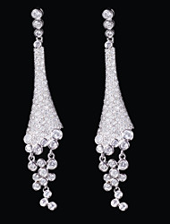 cheap -Gorgeous Platinum Plated With Cubic Zirconia Earrings
