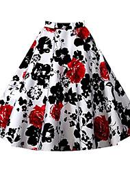 Women's Print Red / White / Black / Brown / Purple / Multi-color Skirts,Vintage Knee-length