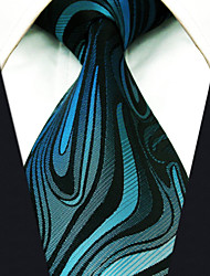 cheap -Men's Tie Green Ripple Fashion 100% Silk  Business