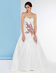 A-Line Sweetheart Sweep / Brush Train Lace Organza Wedding Dress with Appliques Lace by LAN TING BRIDE®