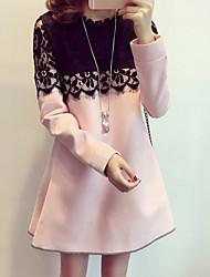 Robe Femme Décontracté / QuotidienMosaïque Col Arrondi Mini Manches Longues Rose Rouge Noir Marron Coton Polyester Hiver Non Elastique Fin