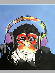cheap -Single Modern Abstract Pure Hand Draw Decorative Oil Painting Ready To Hang Orangutans Listen To Music