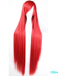 baratos -Perucas sintéticas / Perucas de Fantasia Liso Corte Assimétrico Cabelo Sintético Riscas Naturais Vermelho Peruca Mulheres Longo Sem Touca