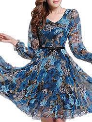 Feminino balanço Vestido,Para Noite Tamanhos Grandes Sofisticado Floral Estampado Decote V Acima do Joelho Manga Longa Outono Cintura