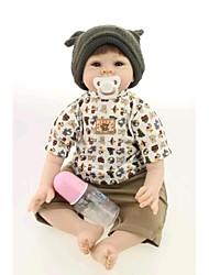 cheap -NPK DOLL Reborn Doll Baby 22inch Silicone / Vinyl - Newborn, lifelike, Cute Girls' Kid's Gift
