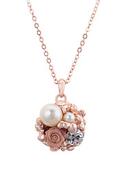 HKTC Party Jewelry 18k Rose Gold Plated Simulated Pearl Crystal Flower Pendant Necklace
