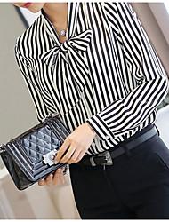 Women's Fine Stripe Striped Black Shirt,Ruff Collar Long Sleeve