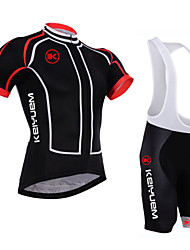 baratos -KEIYUEM Camisa com Bermuda Bretelle Unisexo Manga Curta Moto Camisa/Roupas Para Esporte Shorts Acolchoados Tights Bib Conjuntos de Roupas