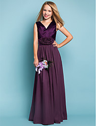 cheap -Sheath / Column V Neck Floor Length Chiffon Junior Bridesmaid Dress with Flower by LAN TING BRIDE® / Spring / Summer / Fall / Apple / Hourglass