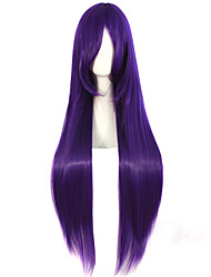 Anime Cosplay Female Purple 100cm Long Straight Hair Wig High Temperature Hair