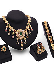 Crystal Jewelry Set Gold Plated Jewelry Set With Crystal Necklace For Bridal Bridal Wedding Party