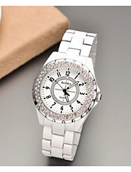 cheap -Women Watch Round Dial Anolog Wrist Rhinestone Quartz Watches Ladies ROSRA Female Clock 2015 New Russia Cool Watches Unique Watches Strap Watch